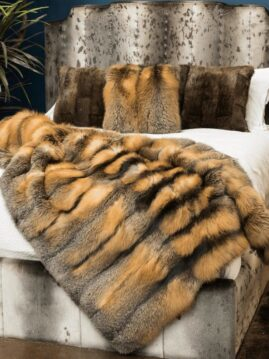 Cross Fox Fur Blanket