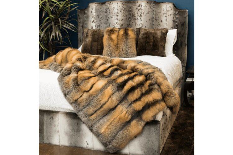 Cross Fox Fur Blanket
