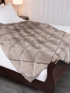 Mink Silver-Blue & Seal Diamond Style Blanket