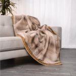 Mink Silver-Blue Braided Trim Blanket