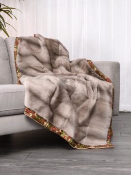 Mink Silver-Blue Flower Trim Blanket