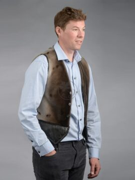 Men's Seal Skin Vest - Leather Bottom