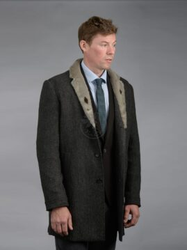 Men's Wool Overcoat - Seal Trim Collar
