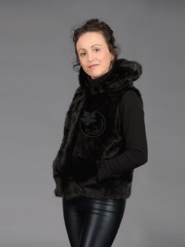 Black Mink Piece Vest with Hood