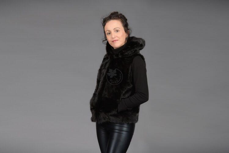 Black Mink Piece Vest with Hood