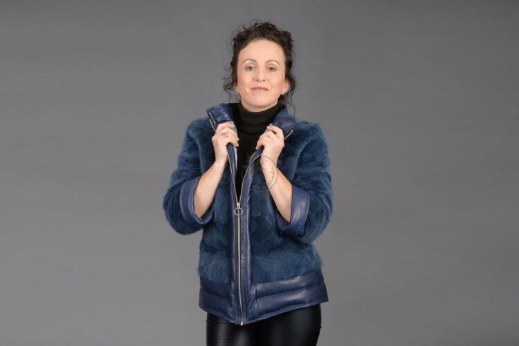 Blue Mink Piece with Leather Jacket