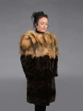 Cross Fox Mink Piece Coat