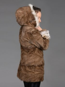 Demi Buff Mink Piece Coat With Bobcat Hood