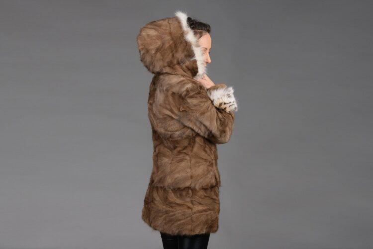 Demi Buff Mink Piece Coat With Bobcat Hood