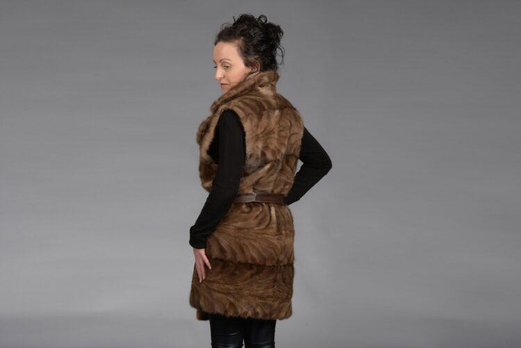 Demi Buff Mink Piece Long Vest