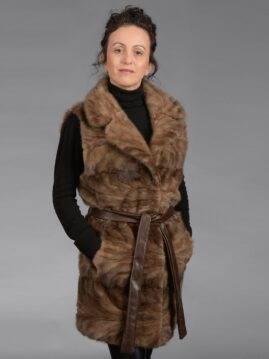 Demi Buff Mink Piece Long Vest