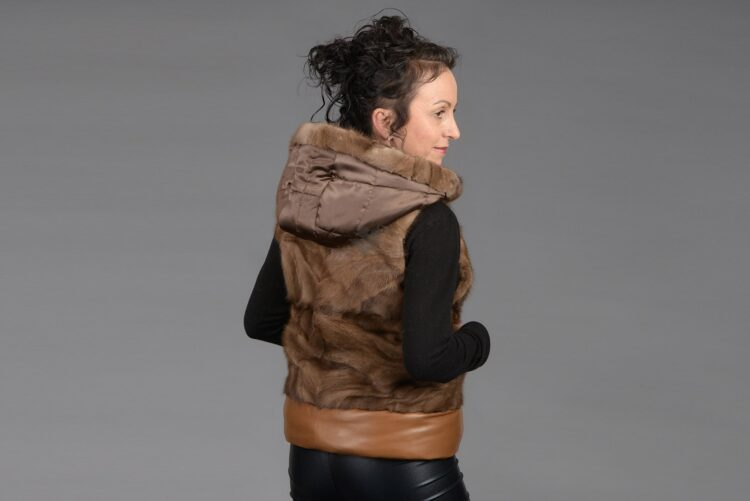 Demi Buff Mink Piece Vest With Leather & Hood