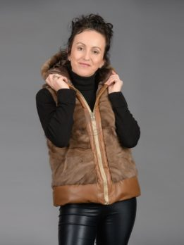 Demi Buff Mink Piece Vest With Leather & Hood