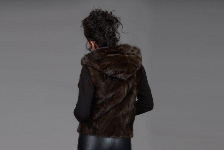 Mahogany Mink Piece Vest With Hood