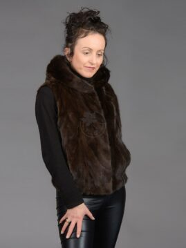 Mahogany Mink Piece Vest With Hood