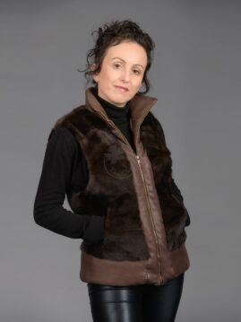 Mahogany Mink Piece Vest With Leather