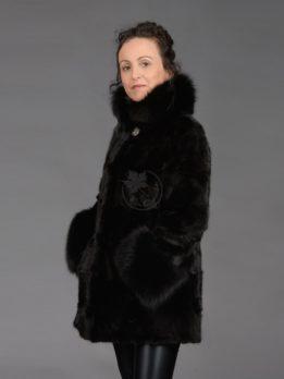 Mink Piece Black Fox Collar & Cuff Coat