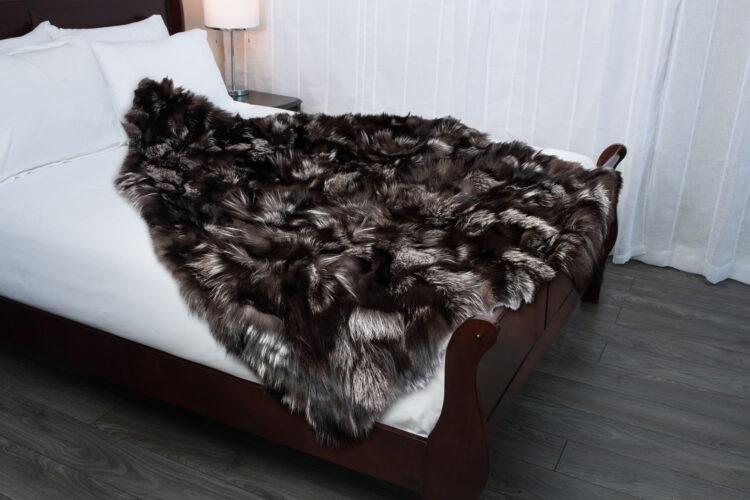 Silver Fox Piece Fur Blanket